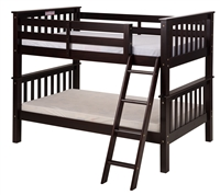 Santa Fe Mission Low Bunk Bed Twin over Twin - Angle Ladder - Cappuccino Finish