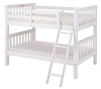 Santa Fe Mission Low Bunk Bed Twin over Twin - Angle Ladder - White Finish