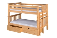 Santa Fe Mission Low Bunk Bed Twin over Twin - Bed End Ladder - Natural Finish - with Under Bed Drawers