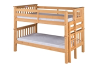 Santa Fe Mission Low Bunk Bed Twin over Twin - Bed End Ladder- Natural Finish