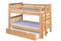 Santa Fe Mission Low Bunk Bed Twin over Twin - Bed End Ladder - Natural Finish - with Twin Size Under Bed Trundle