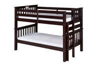 Santa Fe Mission Low Bunk Bed Twin over Twin - Bed End Ladder - Cappuccino Finish