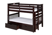 Santa Fe Mission Low Bunk Bed Twin over Twin - Bed End Ladder - Cappuccino Finish - with Under Bed Drawers