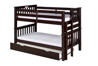 Santa Fe Mission Low Bunk Bed Twin over Twin - Bed End Ladder - Cappuccino Finish - with Twin Size Under Bed Trundle