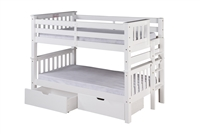 Santa Fe Mission Low Bunk Bed Twin over Twin - Bed End Ladder  - White Finish - with Under Bed Drawers