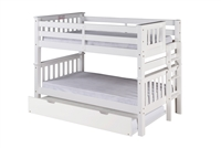 Santa Fe Mission Low Bunk Bed Twin over Twin - Bed End Ladder - White Finish - with Twin Size Under Bed Trundle