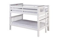 Santa Fe Mission Low Bunk Bed Twin over Twin - Bed End Ladder - White Finish