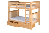 Santa Fe Mission Tall Bunk Bed Twin over Twin - Attached Ladder - Natural Finish - with Under Bed Drawers