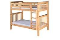 Santa Fe Mission Tall Bunk Bed Twin over Twin - Attached Ladder - Natural Finish