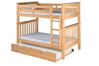 Santa Fe Mission Tall Bunk Bed Twin over Twin - Attached Ladder - Natural Finish - with Twin Size Under Bed Trundle