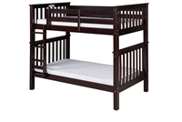 Santa Fe Mission Tall Bunk Bed Twin over Twin - Attached Ladder - Cappuccino Finish