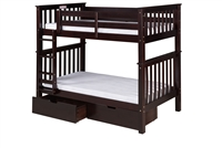 Santa Fe Mission Tall Bunk Bed Twin over Twin - Attached Ladder - Cappuccino Finish - with Under Bed Drawers