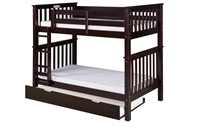 Santa Fe Mission Tall Bunk Bed Twin over Twin - Attached Ladder - Cappuccino Finish - with Twin Size Under Bed Trundle