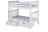 Santa Fe Mission Tall Bunk Bed Twin over Twin - Attached Ladder - White Finish with Under Bed Drawers