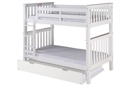 Santa Fe Mission Tall Bunk Bed Twin over Twin - Attached Ladder - White Finish with Twin Size Under Bed Trundle