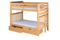 Santa Fe Mission Tall Bunk Bed Twin over Twin - Bed End Ladder - Natural Finish - with Under Bed Drawers