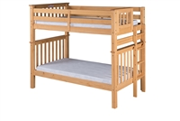 Santa Fe Mission Tall Bunk Bed Twin over Twin - Bed End Ladder - Natural Finish