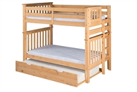Santa Fe Mission Tall Bunk Bed Twin over Twin - Bed End Ladder - Natural Finish - with Twin Size Under Bed Trundle