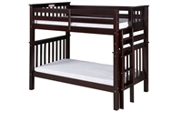 Santa Fe Mission Tall Bunk Bed Twin over Twin - Bed End Ladder - Cappuccino Finish