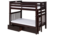 Santa Fe Mission Tall Bunk Bed Twin over Twin - Bed End Ladder - Cappuccino Finish - with Under Bed Drawers