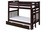 Santa Fe Mission Tall Bunk Bed Twin over Twin - Bed End Ladder - Cappuccino Finish - with Twin Size Under Bed Trundle