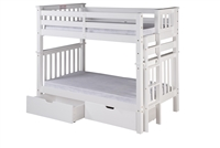 Santa Fe Mission Tall Bunk Bed Twin over Twin - Bed End Ladder - White Finish - with Under Bed Drawers