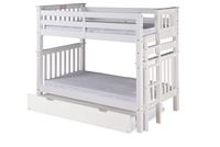 Santa Fe Mission Tall Bunk Bed Twin over Twin - Bed End Ladder - White Finish - with Twin Size Under Bed Trundle