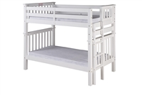 Santa Fe Mission Tall Bunk Bed Twin over Twin - Bed End Ladder - White Finish