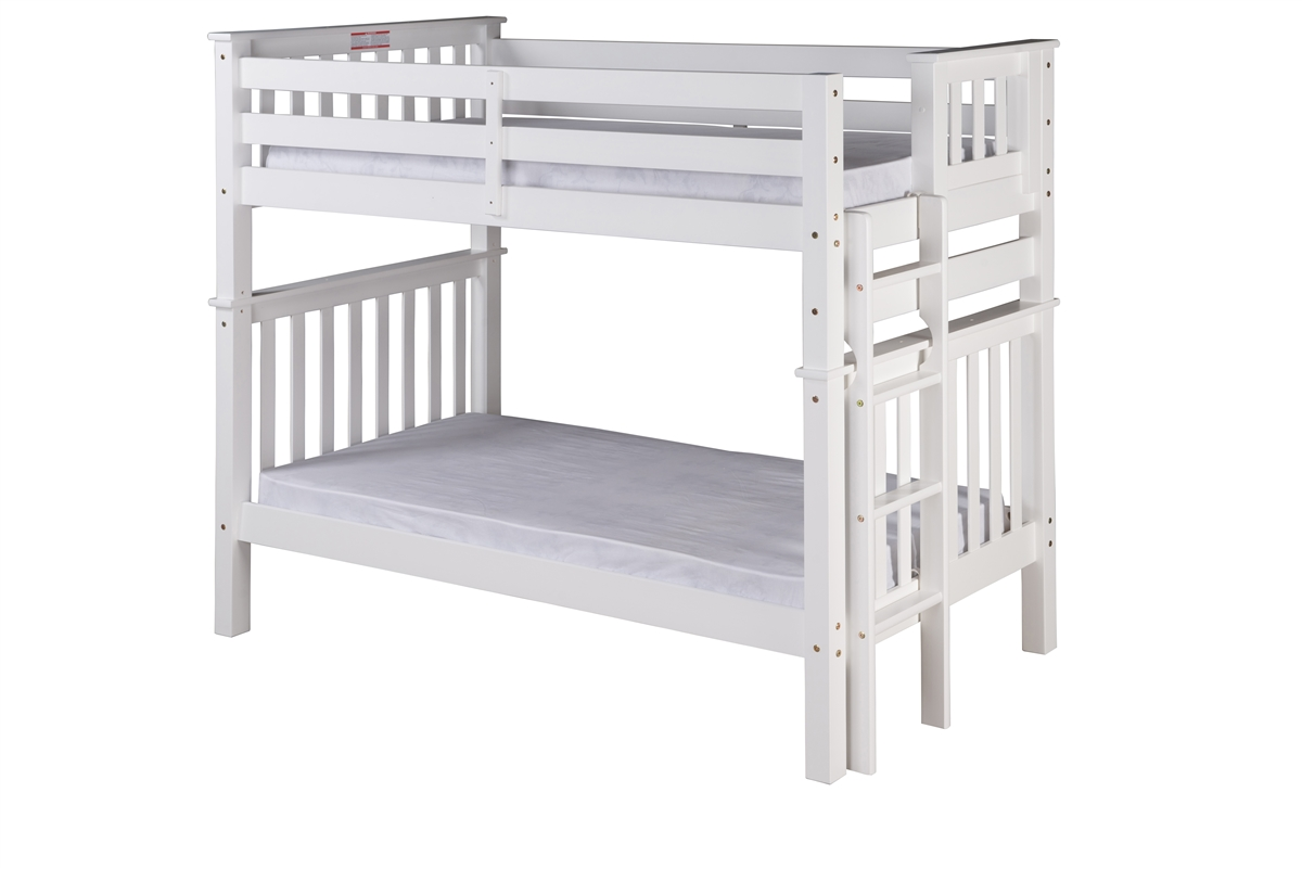 Santa Fe Mission Tall Bunk Bed Twin Over End Ladder White Finish