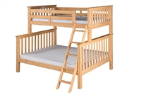 Santa Fe Mission Tall Bunk Bed Twin over Full - Angle Ladder - Natural Finish