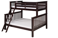 Santa Fe Mission Tall Bunk Bed Twin over Full - Angle Ladder - Cappuccino Finish
