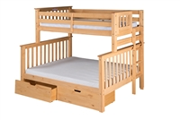 Santa Fe Mission Tall Bunk Bed Twin over Full - Bed End Ladder - Natural Finish - with Under Bed Drawers