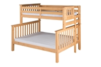 Santa Fe Mission Tall Bunk Bed Twin over Full - Bed End Ladder - Natural Finish