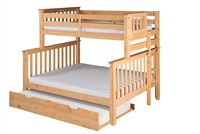 Santa Fe Mission Tall Bunk Bed Twin over Full - Bed End Ladder - Natural Finish - with Twin Size Under Bed Trundle