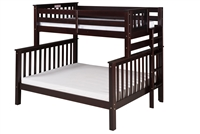 Santa Fe Mission Tall Bunk Bed Twin over Full - Bed End Ladder - Cappuccino Finish