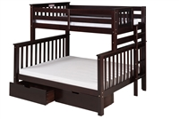 Santa Fe Mission Tall Bunk Bed Twin over Full - Bed End Ladder - Cappuccino Finish - with Under Bed Drawers