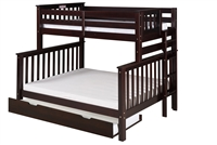 Santa Fe Mission Tall Bunk Bed Twin over Full - Bed End Ladder - Cappuccino Finish - with Twin Size Under Bed Trundle