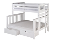 Santa Fe Mission Tall Bunk Bed Twin over Full - Bed End Ladder - White Finish - with Under Bed Drawers