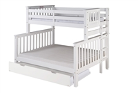 Santa Fe Mission Tall Bunk Bed Twin over Full - Bed End Ladder - White Finish - with Twin Size Under Bed Trundle