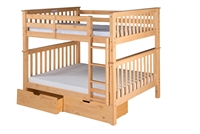 Santa Fe Mission Tall Bunk Bed Full over Full - Attached Ladder - Natural Finish - with Under Bed Drawers