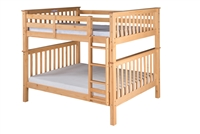 Santa Fe Mission Tall Bunk Bed Full over Full - Attached Ladder - Natural Finish