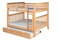 Santa Fe Mission Tall Bunk Bed Full over Full - Attached Ladder - Natural Finish - with Twin Size Under Bed Trundle