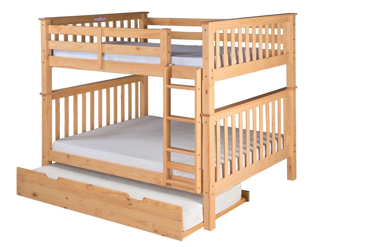 Picture of: Mission Tall Bunk Bed Full Over Full Attached Ladder Natural With Twin Size Under Bed Trundle