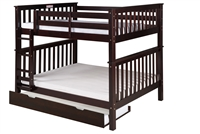 Santa Fe Mission Tall Bunk Bed Full over Full - Attached Ladder - Cappuccino Finish - with Twin Size Under Bed Trundle