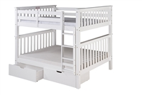 Santa Fe Mission Tall Bunk Bed Full over Full - Attached Ladder - White Finish - with Under Bed Drawers