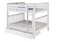 Santa Fe Mission Tall Bunk Bed Full over Full - Attached Ladder - White Finish - with Twin Size Under Bed Trundle