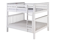 Santa Fe Mission Tall Bunk Bed Full over Full - Attached Ladder - White Finish