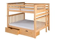 Santa Fe Mission Tall Bunk Bed Full over Full - Bed End Ladder - Natural Finish - with Under Bed Drawers