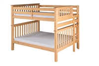 Santa Fe Mission Tall Bunk Bed Full over Full - Bed End Ladder - Natural Finish