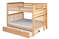 Santa Fe Mission Tall Bunk Bed Full over Full - Bed End Ladder - Natural Finish - with Twin Size Under Bed Trundle